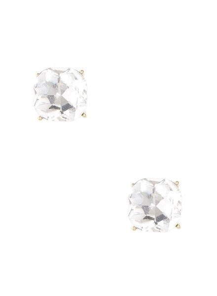 Chic Giant Crystal Stud Earrings In Clear