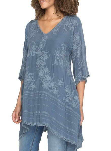 Johnny Was Johnny Was Leaf Garden Tunic In Twilight Blue