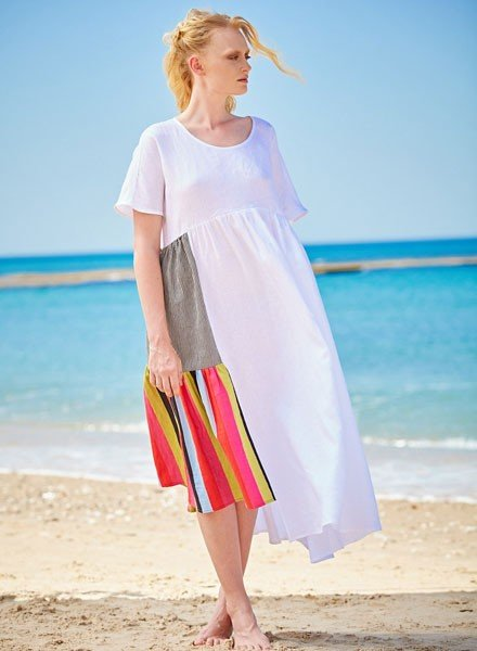 Alembika Alembika's Linen Stripe Insert Dress In White