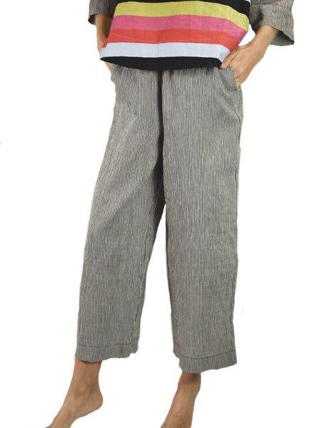 Alembika Alembika's Striped Linen Pant In Black