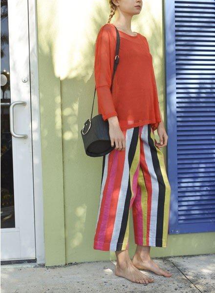 Alembika Alembika's Wide Multi Stripe Linen Pant