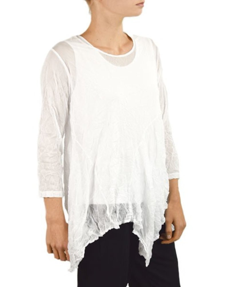 Comfy's Concord Tunic In White Crinkle Mesh