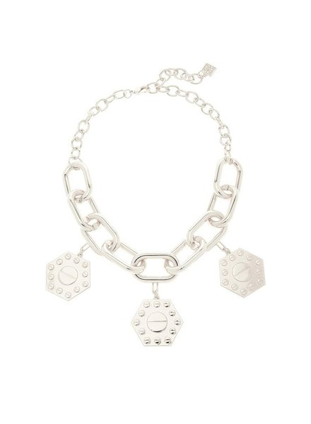 Chain Reaction Charm Necklace In Silver