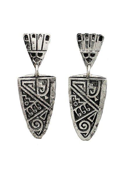 Shield Earrings In Aged Silver