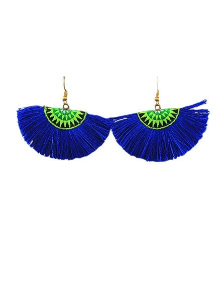 Thread Fan Earrings In Navy