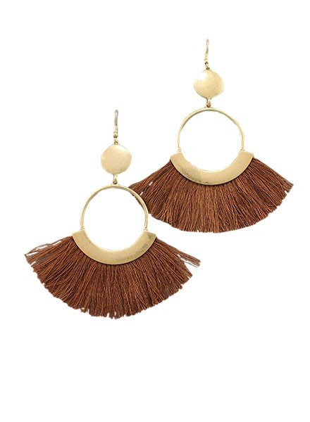 Fan Dance Earrings In Brown