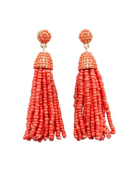 Bead Tassel Drop Earrings in Orange