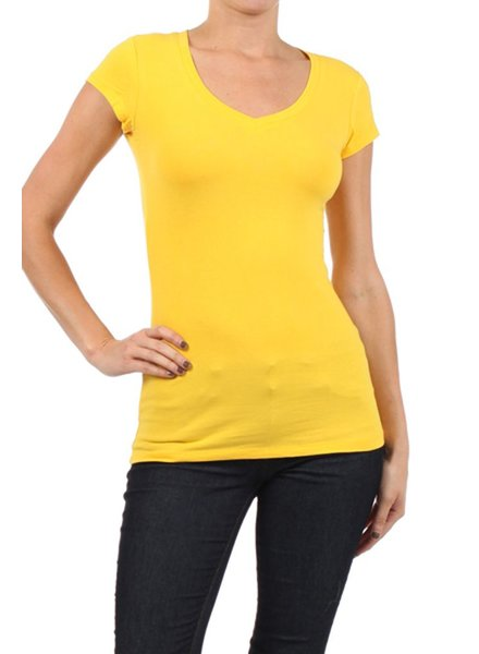 V-Neck Tee In Yellow