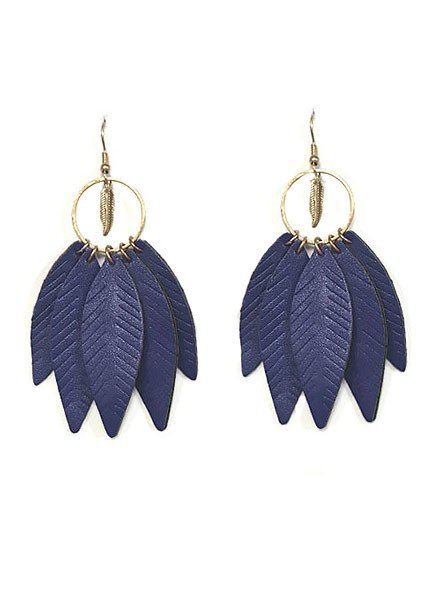 5 Feather Leather Earrings In Navy