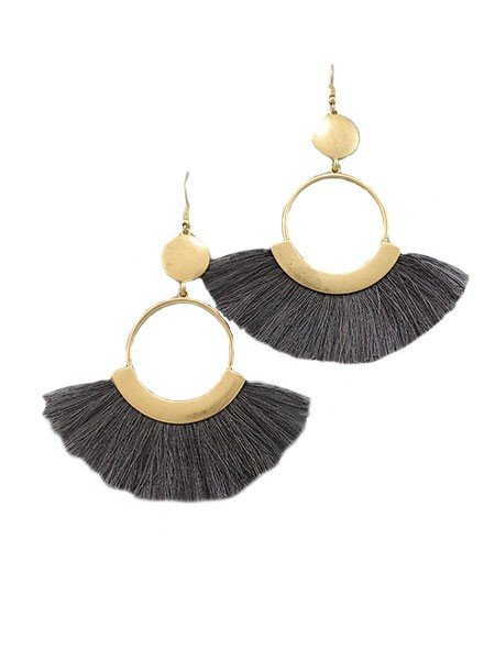 Fan Dance Earrings In Grey