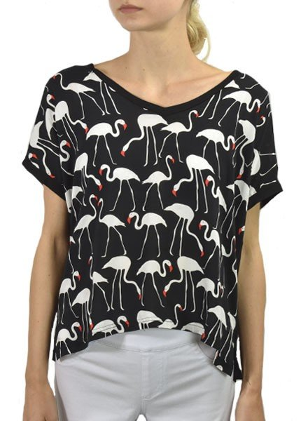 Traffic People's Flamingo Top In Black