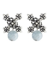 French Kande French Kande Silver X Earrings With Aquamarine Dangles