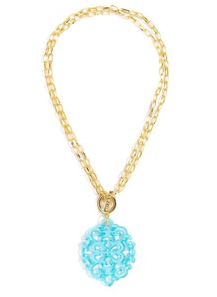 Damask Short/Long Necklace In Bright Blue
