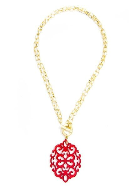 Damask Short/Long Necklace In Red