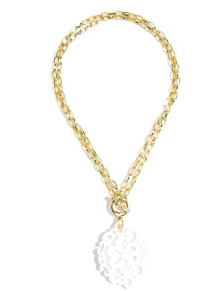 Damask Short/Long Necklace In White