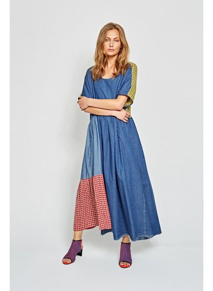 Alembika Alembika Combination Dress In Denim