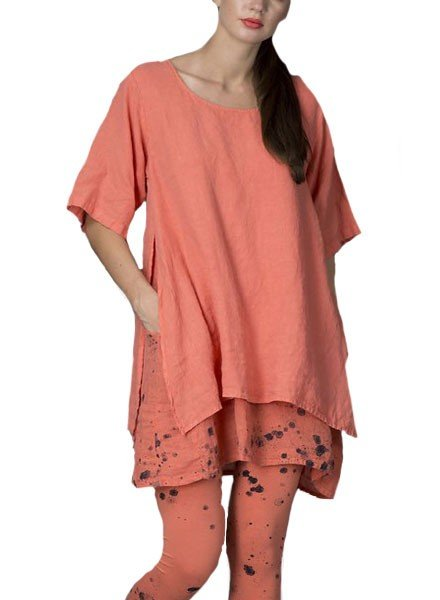 Griza Double Splatter Tunic/Dress In Coral
