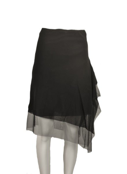 Petit Pois Uneven Hem Skirt In Black