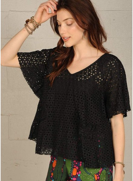 Flutter Eyelet Top In Black