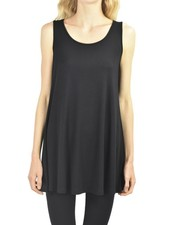 Comfy U.S.A. Comfy Sleeveless Tunic Top In Black