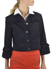 Renuar Crop Cotton Jacket In New Midnight