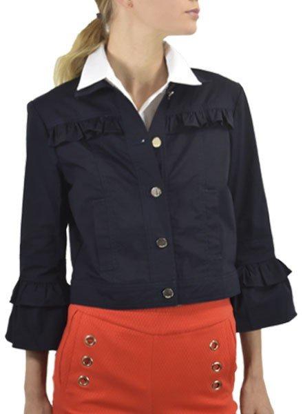 Renuar Crop Cotton Jacket In New Midnight