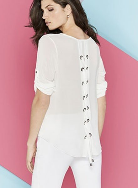 Renuar Renuar Lace Up Back Top In Ivory