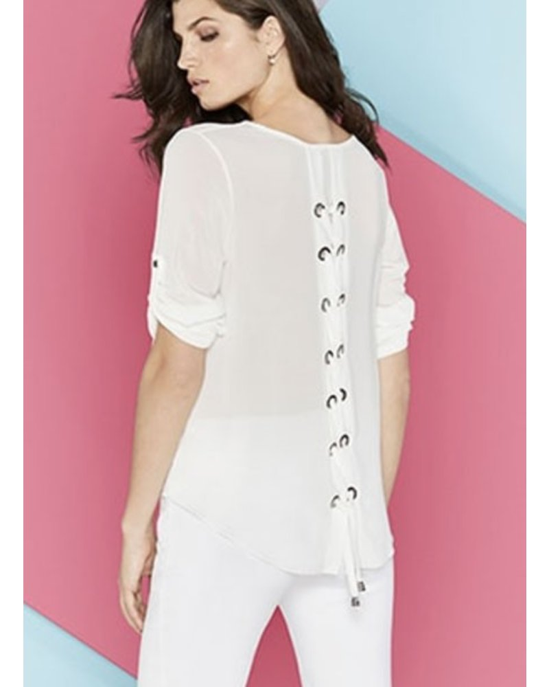 Renuar Lace Up Back Top In Ivory