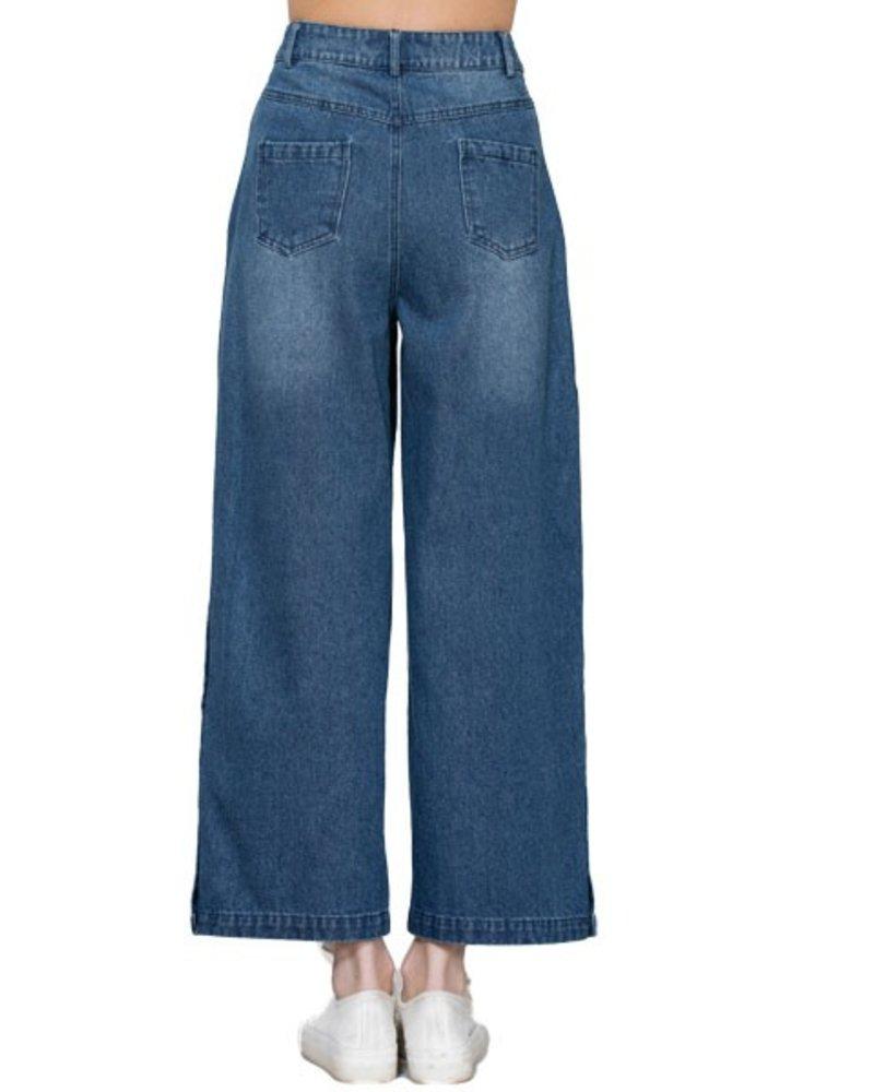Wide Denim Jeans With Side Snaps