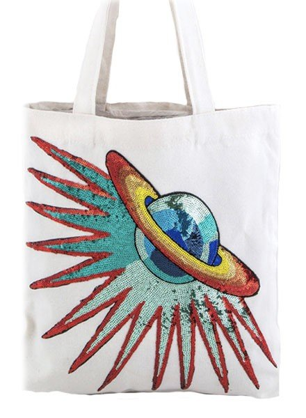 My Shooting To Saturn Tote In White