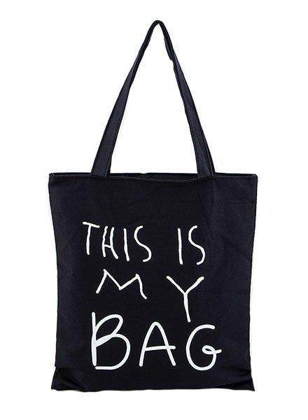 """""""This Is My Bag"""" Canvas Tote In Black"""