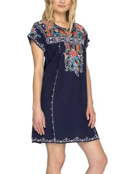 Johnny Was Samira Pleated Peasant Tunic/Dress In Navy