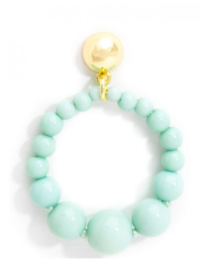 Glossy Pastel Beaded Drop Earrings In Mint Shady And Katie