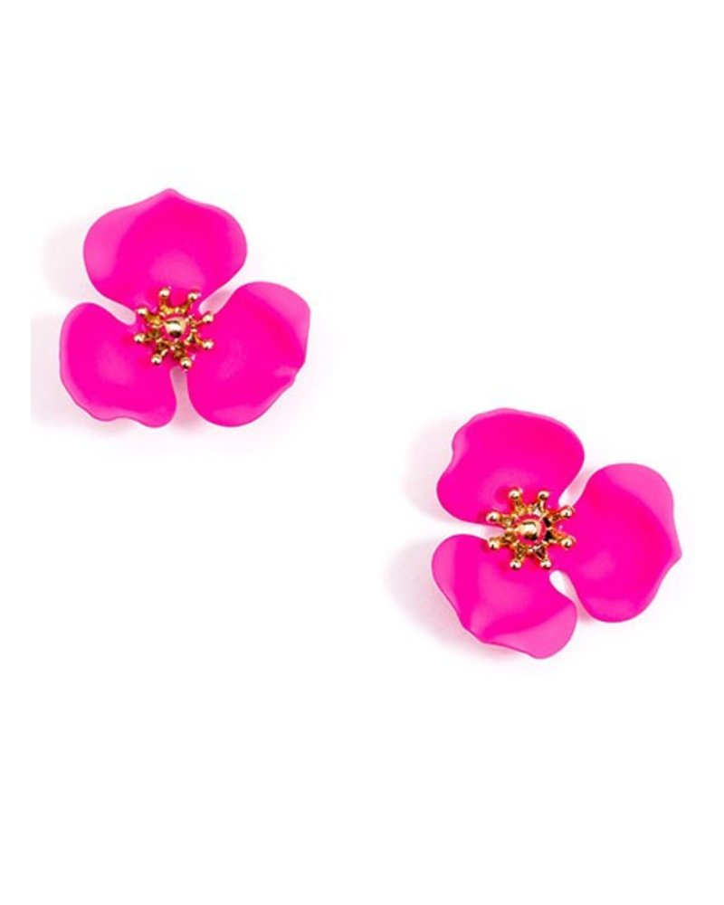 Blooming Lotus Stud Earrings In Hot Pink