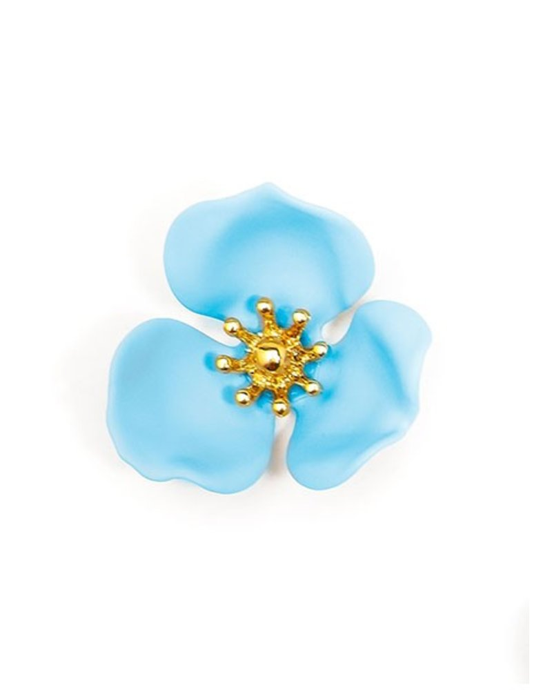 Blooming Lotus Stud Earrings In Light Blue