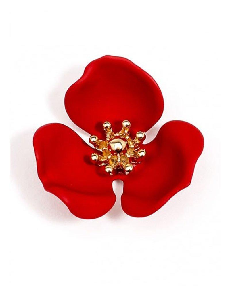 Blooming Lotus Stud Earrings In Red