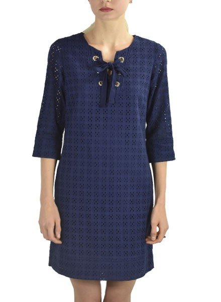 Renuar's Eyelet Dress In Marine