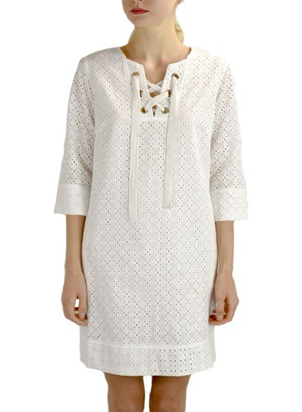 Renuar's Eyelet Dress In White
