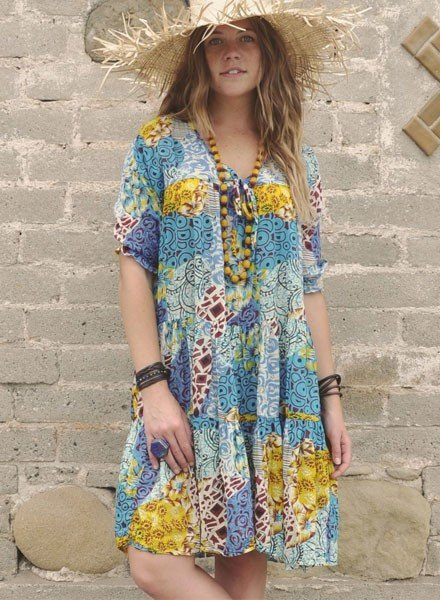 J.P & Mattie Bohemian Dress In Patchwork Print