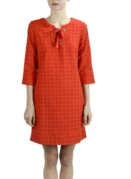 Renuar's Eyelet Dress In Tomato