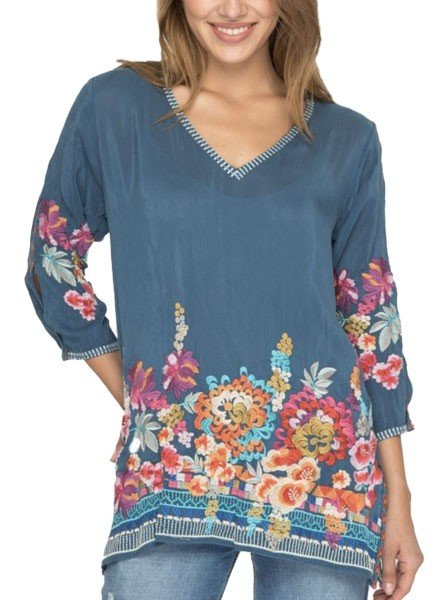 Johnny Was Araxi Tunic In Spruce Blue