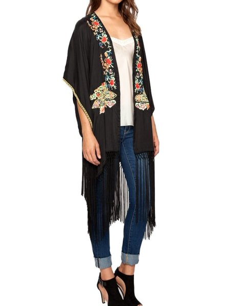 Johnny Was Anabelle Fringe Kimono In Graphite