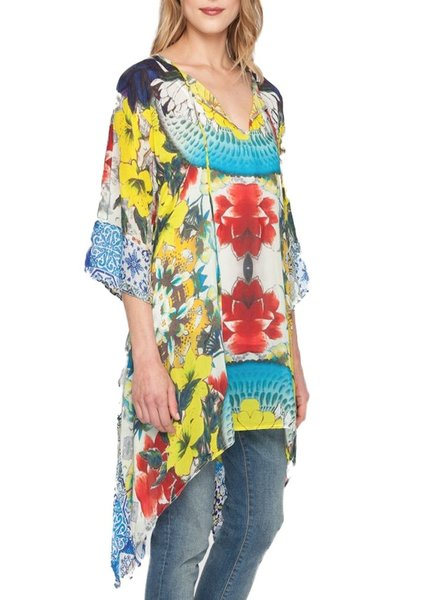 Johnny Was Flash Tie Tunic In Floral Print