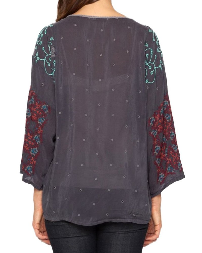 Johnny Was Sammy Blouse In Grey Onyx