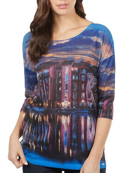 French Dressing Twilight In Venice Top In Blue