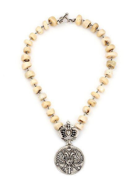 French Kande French Kande Coral & Silver Wire Chain With Immaculate Heart & Canard Medallion