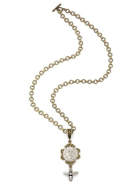 French Kande French Kande Baby Bubble Chain With Dupuis Medallion & Miel Pendant
