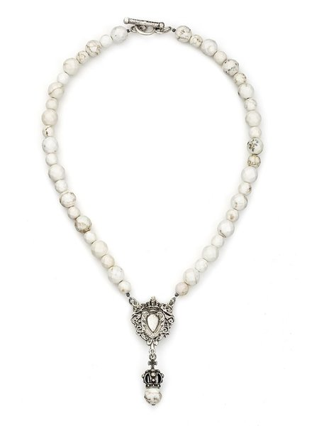 French Kande French Kande White Turquoise With Heart Fob & Crown Pendant