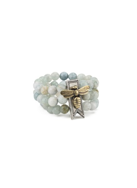 French Kande French Kande Triple Aquamarine With Bar Miel Stack Medallion