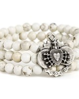 French Kande French Kande Triple Strand White Turquoise With Immaculate Heart Relier